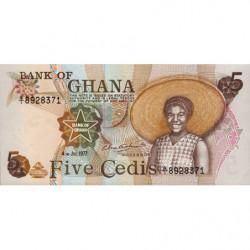 Ghana - Pick 15b - 5 cedis - Série Q/1 - 04/07/1977 - Etat : NEUF
