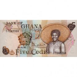 Ghana - Pick 15b_2 - 5 cedis - Série T/1 - 04/07/1977 - Etat : pr.NEUF