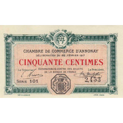 Annonay - Pirot 11-9 - 50 centimes - 1917 - Etat : UNC