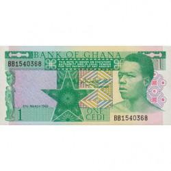 Ghana - Pick 17b - 1 cedi - Série BB - 06/03/1982 - Etat : NEUF
