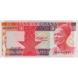 Ghana - Pick 19b - 5 cedis - Série AM - 02/01/1980 - Etat : NEUF