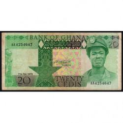 Ghana - Pick 21a - 20 cedis - Série AA - 07/02/1979 - Etat : TB