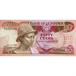 Ghana - Pick 25_3 - 50 cedis - Série Q/1 - 15/07/1986 - Etat : NEUF