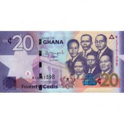 Ghana - Pick 40f - 20 cedis - 01/07/2015 - Etat : NEUF