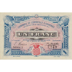 Annonay - Pirot 11-12 - 1 franc - 1917 - Etat : SPL