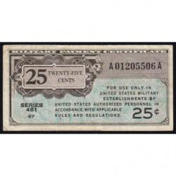 Etats Unis d'Amérique - Militaire - Pick M3 - 25 cents - Série 461 - 1946 - Etat : TB+