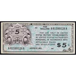 Etats Unis d'Amérique - Militaire - Pick M6 - 5 dollars - Série 461 - 1946 - Etat : TTB+