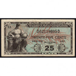 Etats Unis d'Amérique - Militaire - Pick M24 - 25 cents - Série 481 - 1951 - Etat : TTB