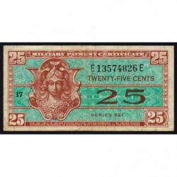 Etats Unis d'Amérique - Militaire - Pick M31 - 25 cents - Série 521 - 1954 - Etat : TTB-