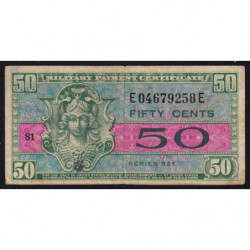 Etats Unis d'Amérique - Militaire - Pick M32 - 50 cents - Série 521 - 1954 - Etat : TB+