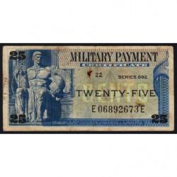 Etats Unis d'Amérique - Militaire - Pick M93 - 25 cents - Série 692 - 1969 - Etat : B+