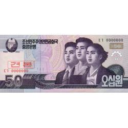 Corée du Nord - Pick 60s - 50 won - 2002 (2009) - Spécimen - Etat : NEUF