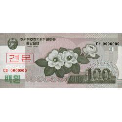 Corée du Nord - Pick 61s - 100 won - 2008 (2009) - Spécimen - Etat : NEUF