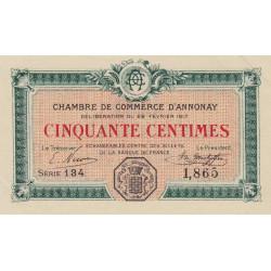 Annonay - Pirot 11-15 - 50 centimes - 1917 - Etat : SPL