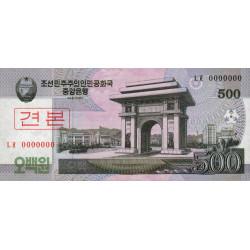 Corée du Nord - Pick 63s - 500 won - 2008 (2009) - Spécimen - Etat : NEUF