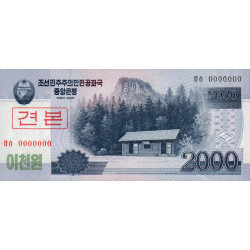 Corée du Nord - Pick 65s - 2'000 won - 2008 (2009) - Spécimen - Etat : NEUF