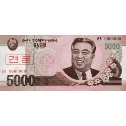 Corée du Nord - Pick 66s - 5'000 won - 2008 (2009) - Spécimen - Etat : NEUF