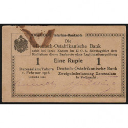 Afrique de l'Est Allemande - Pick 19 - 1 rupie - Série K2 - 01/02/1916 - Etat : TTB