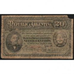 Argentine - Pick 211b_4 - 20 centavos - Série P - 01/11/1891 - Etat : B-