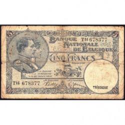 Belgique - Pick 108a - 5 francs - 08/03/1938 - Etat : B+