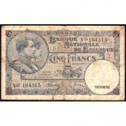 Belgique - Pick 108a - 5 francs - 09/04/1938 - Etat : B+