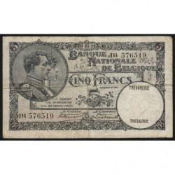 Belgique - Pick 97b - 5 francs - 04/05/1931 - Etat : TB
