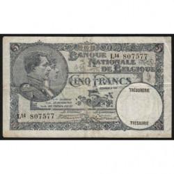 Belgique - Pick 97b - 5 francs - 06/05/1931 - Etat : TB+