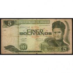 Bolivie - Pick 209 - 5 bolivianos - Loi 1986 (1990) - Etat : B+