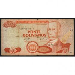 Bolivie - Pick 211 - 20 bolivianos - Loi 1986 (1990) - Etat : B+