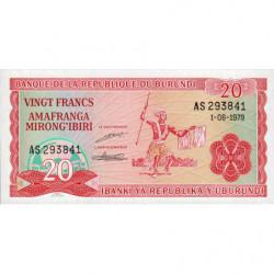 Burundi - Pick 27a_2 - 20 francs - 01/06/1979 - Etat : NEUF