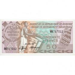 Burundi - Pick 28c_4 - 50 francs - Série BR - 01/05/1993 - Etat : NEUF