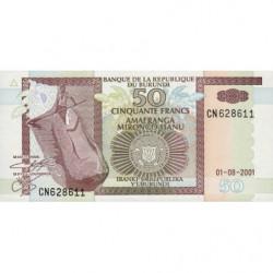 Burundi - Pick 36c - 50 francs - 01/08/2001 - Etat : NEUF