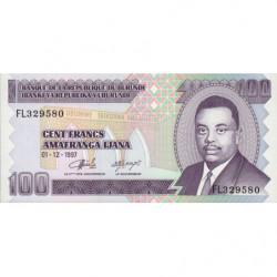 Burundi - Pick 37b - 100 francs - 01/12/1997 - Etat : NEUF