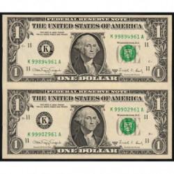 Etats Unis d'Amérique - Pick 480b - paire 1 dollar - 1988 A - K : Dallas - Etat : pr.NEUF