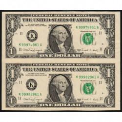 Etats Unis d'Amérique - Pick 480b - paire 1 dollar - 1988 A - K : Dallas - Etat : SUP+