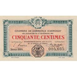 Annonay - Pirot 11-23 - 50 centimes - 1921 - Etat : SPL