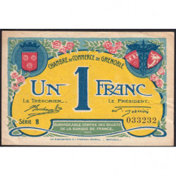 Grenoble - Pirot 63-20a - 1 franc - Série 8 - 08/11/1917 - Etat : TTB