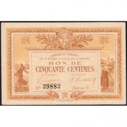 La Roche-sur-Yon (Vendée) - Pirot 65-14 - 50 centimes - Série G - 1915 - Etat : TTB