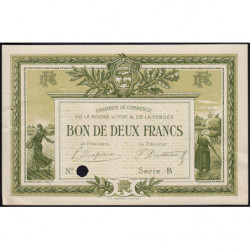 La Roche-sur-Yon (Vendée) - Pirot 65-22-B - 2 francs - Spécimen - 1915 - Etat : SUP