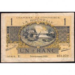 La Rochelle - Pirot 66-9 - 1 franc - Série E - 09/1920 - Etat : TB