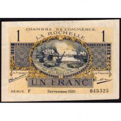 La Rochelle - Pirot 66-9 - Série F - 1 franc - 1920 - Etat : TTB+