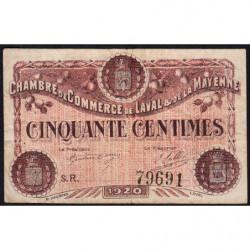 Laval (Mayenne) - Pirot 67-1 - 50 centimes - Série R - 1920 - Etat : TB-