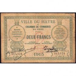 Le Havre - Pirot 68-12 - 2 francs - 1915 - Etat : B