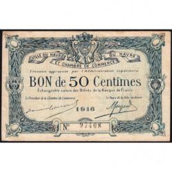 Le Havre - Pirot 68-14a - 50 centimes - 1916 - Etat : TB