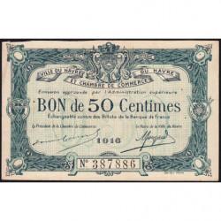 Le Havre - Pirot 68-14b - 50 centimes - 1916 - Etat : TTB