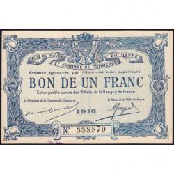 Le Havre - Pirot 68-15 - 1 franc - 1916 - Etat : SUP+