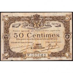 Le Havre - Pirot 68-17b - 50 centimes - 1917 - Etat : B+