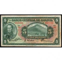 Bolivie - Pick 120_7 - 5 bolivianos - Loi 1928 (1940) - Série H9 - Etat : TTB