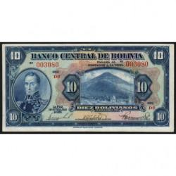 Bolivie - Pick 121_6 - 10 bolivianos - Loi 1928 (1939) - Série D2 - Etat : SUP