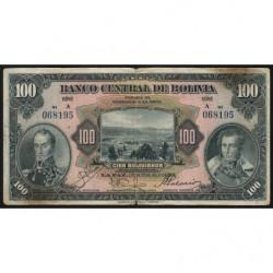 Bolivie - Pick 125_1 - 100 bolivianos - Loi 1928 (1934) - Série A - Etat : TB-